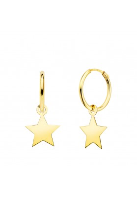 18K GOLD HOOP AND STAR...