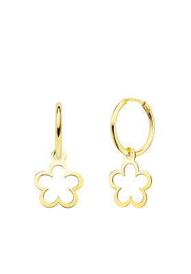 18K GOLD HOOP AND DAISY...